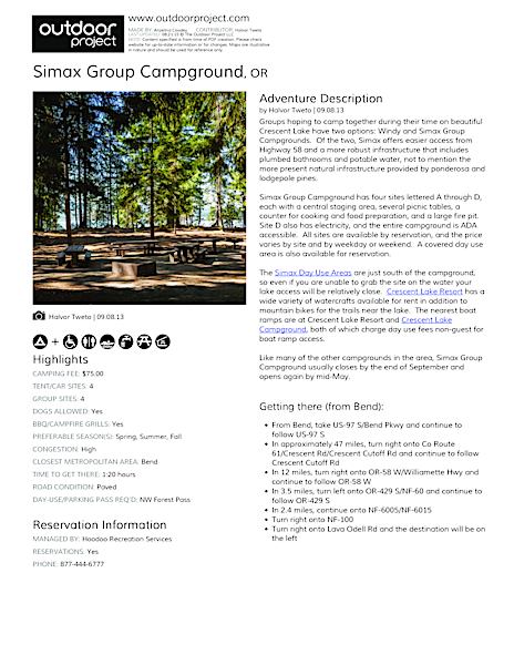 Simax Group Campground Field Guide