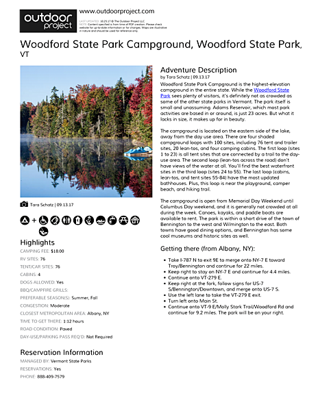Woodford State Park Campground Field Guide