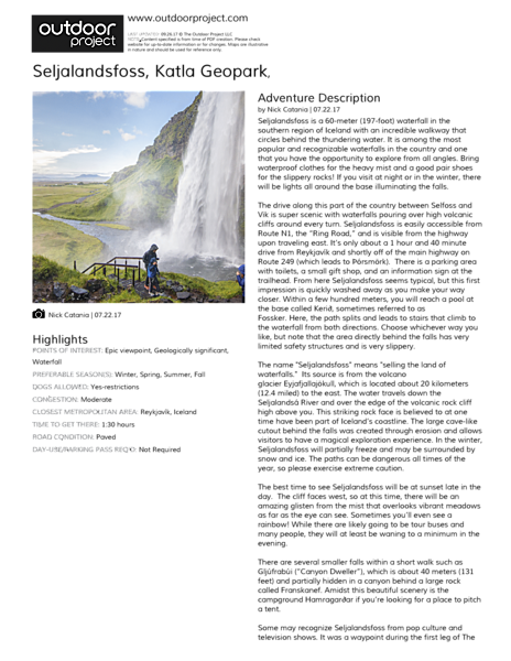 Seljalandsfoss Field Guide