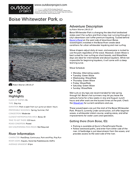 Boise Whitewater Park Field Guide