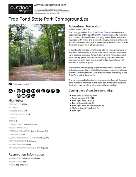 Trap Pond State Park Campground Field Guide