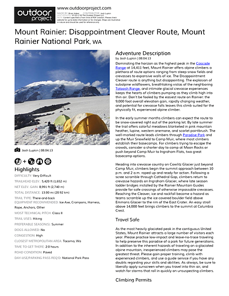 Mount Rainier: Disappointment Cleaver Route Field Guide