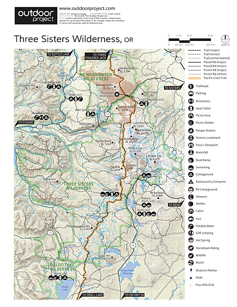 Broken Top Crater Hike Trail Map