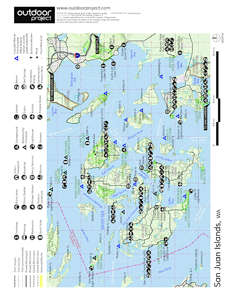 Orcas Island, Mount Constitution Hike Trail Map
