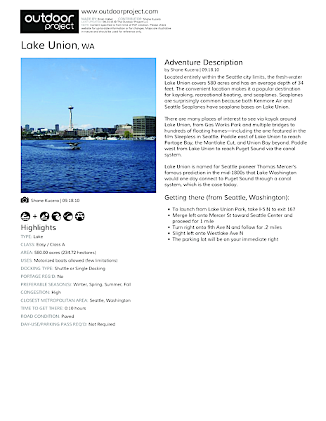Lake Union Field Guide