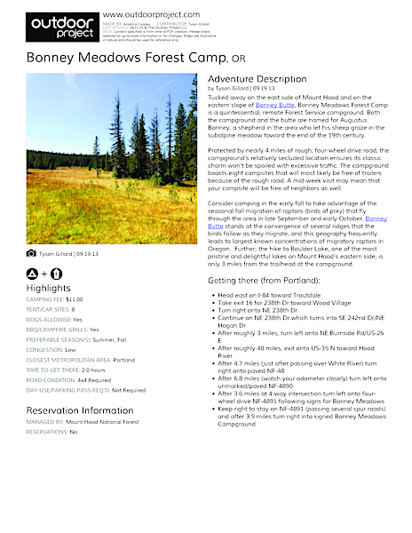 Bonney Meadows Forest Camp Field Guide