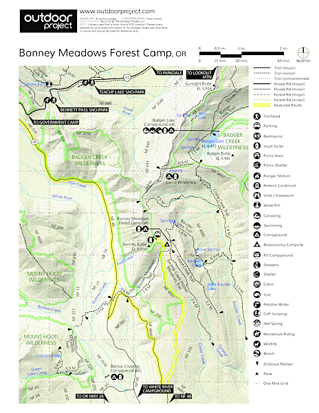 Bonney Meadows Forest Camp Campground Map