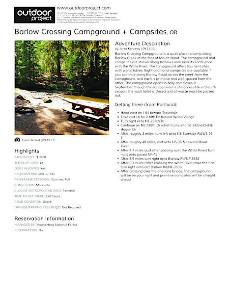 Barlow Crossing Campground + Campsites Field Guide