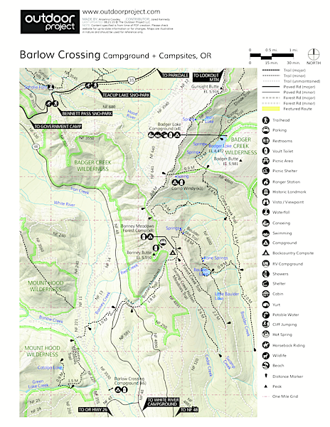 Barlow Crossing Campground + Campsites Map