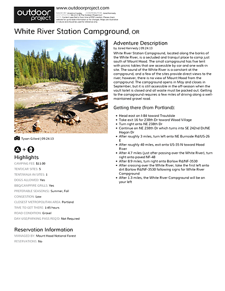 White River Station Campground Field Guide