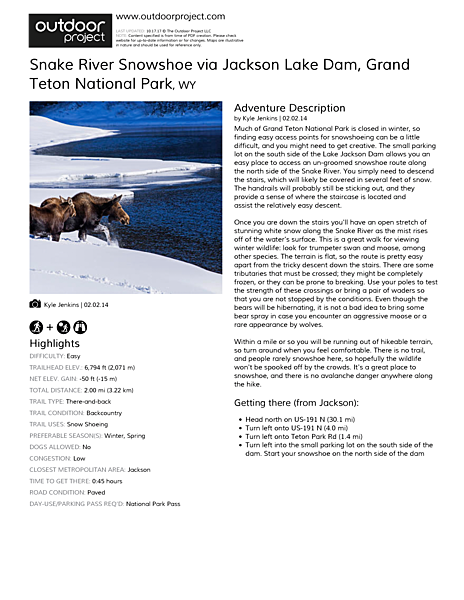 Snake River Snowshoe via Jackson Lake Dam Field Guide
