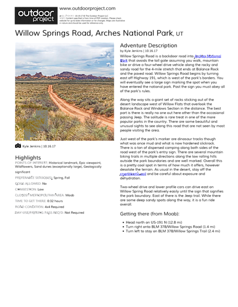 Willow Springs Road Field Guide