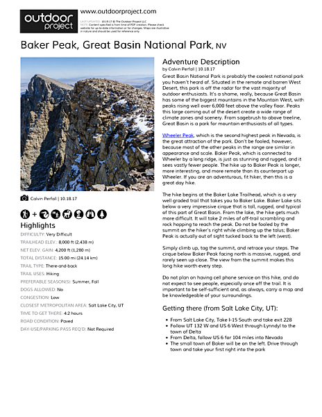 Baker Peak Field Guide