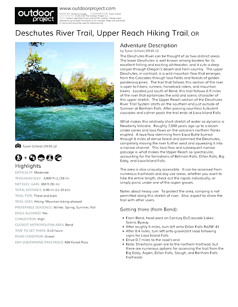 Deschutes River Trail, Upper Reach Hiking Trail Field Guide