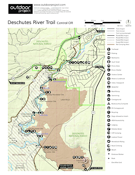 Deschutes River Trail, Upper Reach Hiking Trail Trail Map