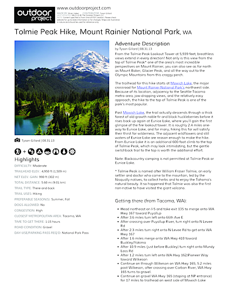 Tolmie Peak Hike Field Guide