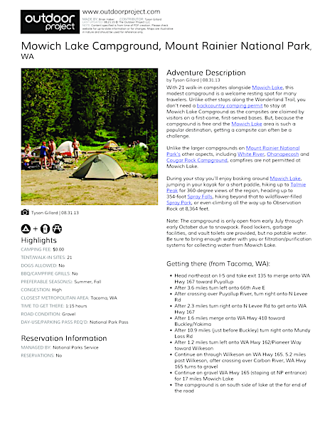 Mowich Lake Campground Field Guide