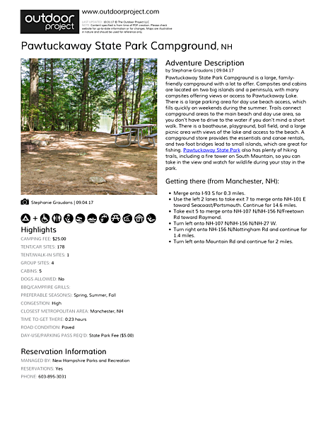 Pawtuckaway State Park Campground Field Guide