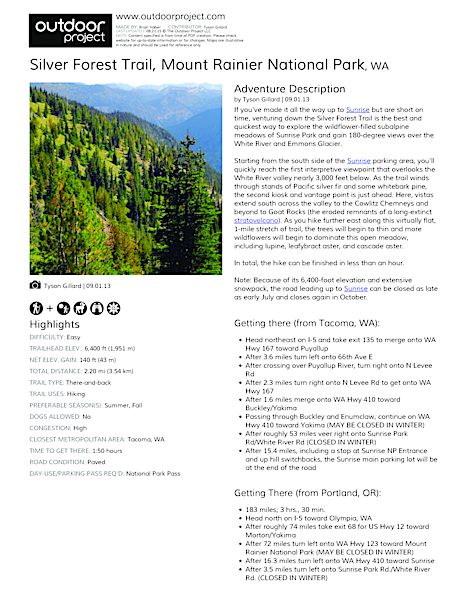 Silver Forest Trail Field Guide