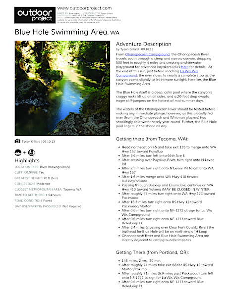 Blue Hole Swimming Area Field Guide
