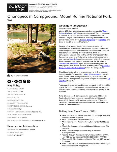 Ohanapecosh Campground Field Guide