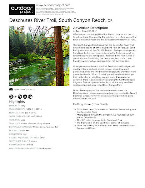 Deschutes River Trail, South Canyon Reach Field Guide