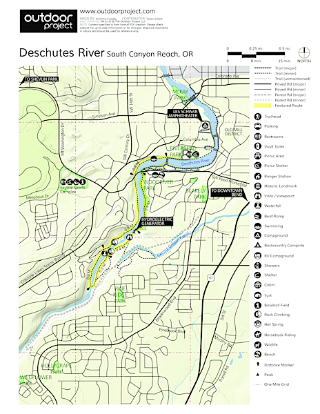 Deschutes River Trail, South Canyon Reach Trail Map