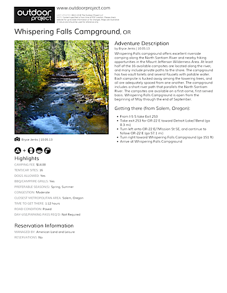 Whispering Falls Campground Field Guide