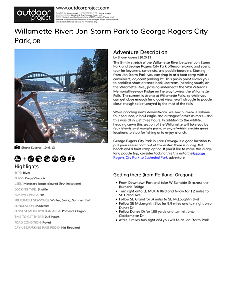 Willamette River: Jon Storm Park to George Rogers City Park Field Guide