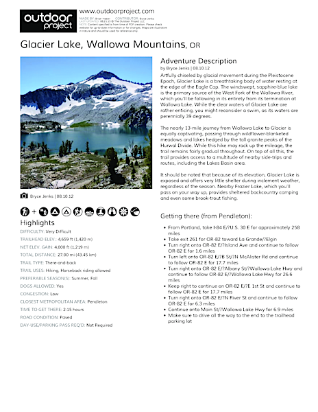 Glacier Lake Field Guide