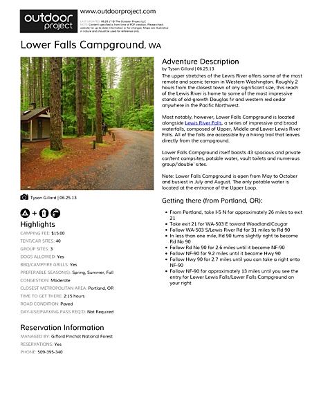 Lower Falls Campground Field Guide