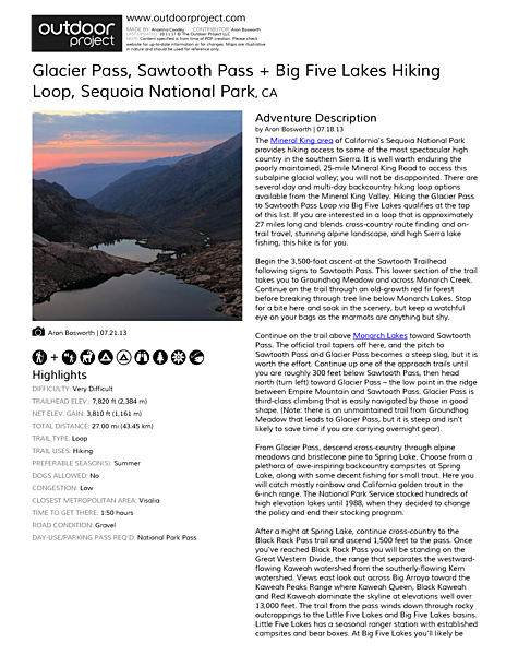 Glacier Pass, Sawtooth Pass + Big Five Lakes Hiking Loop Field Guide