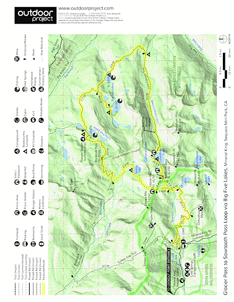 Glacier Pass, Sawtooth Pass + Big Five Lakes Hiking Loop Trail Map