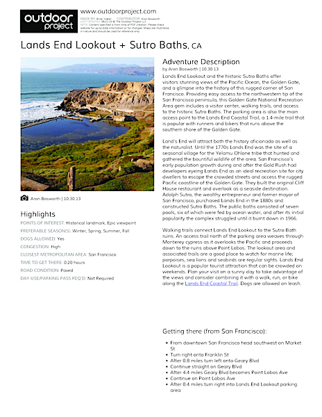 Lands End Lookout + Sutro Baths Field Guide