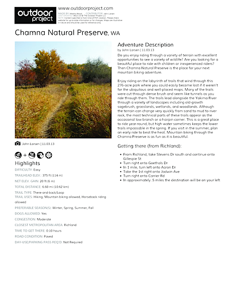 Chamna Natural Preserve Field Guide