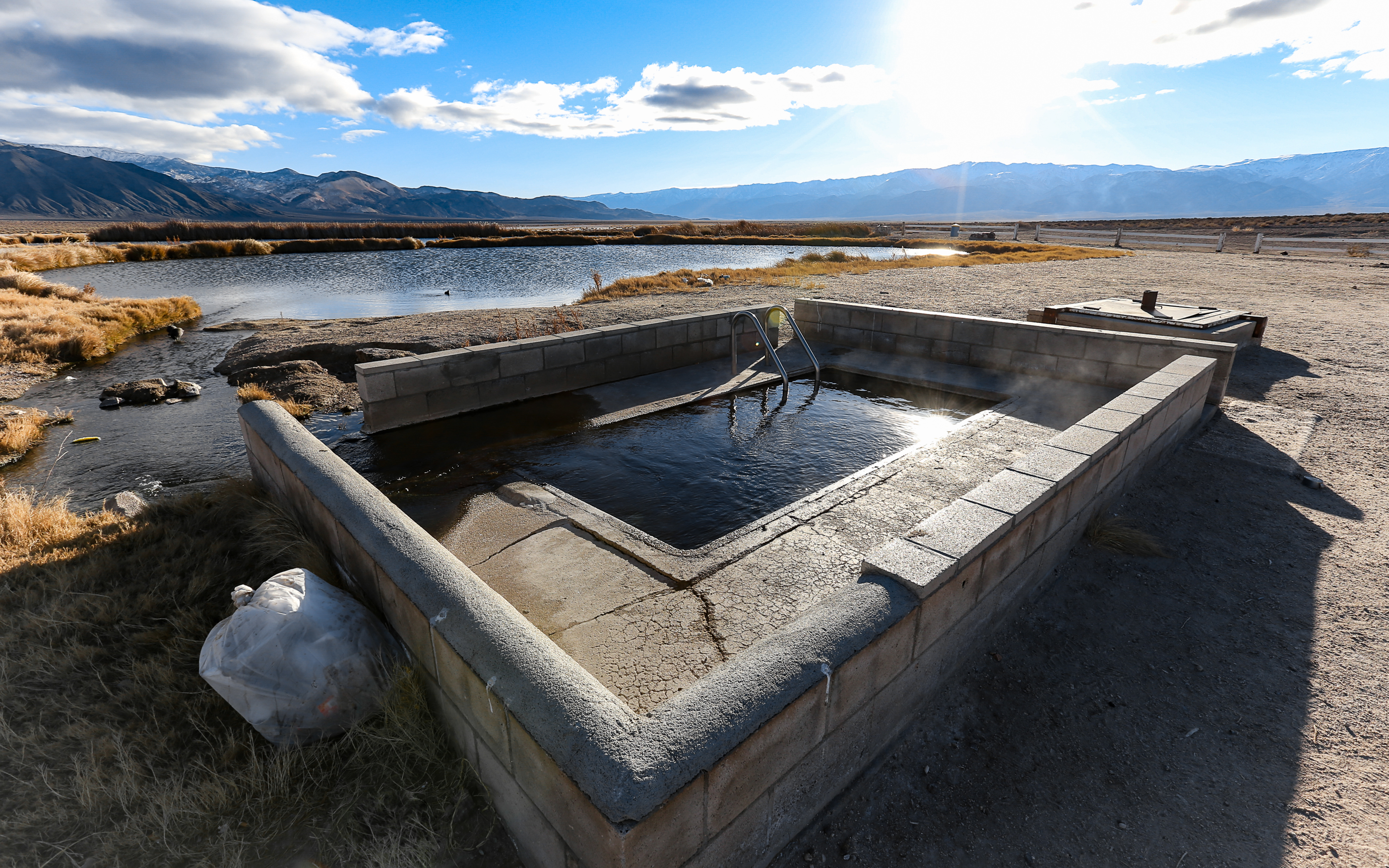 fish lake valley hot well floating in nevada