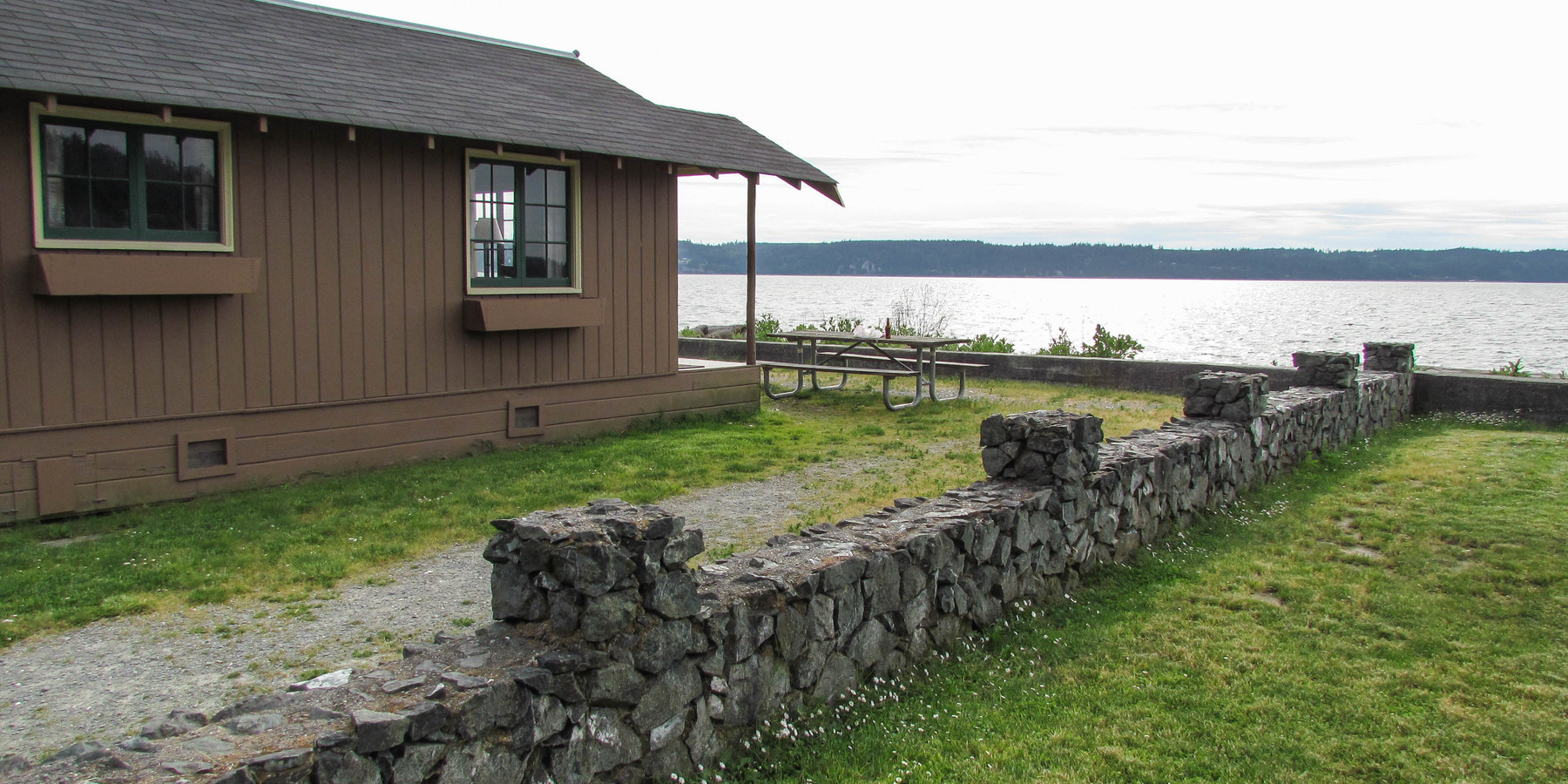 ... Waterfront Cabins Look Out To Whidbey Island From Cama Beach State Park.