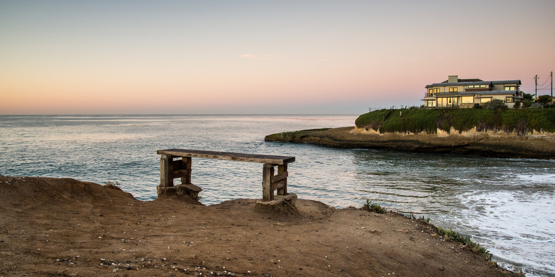 Sunny Cove Viewing Bench At Beach