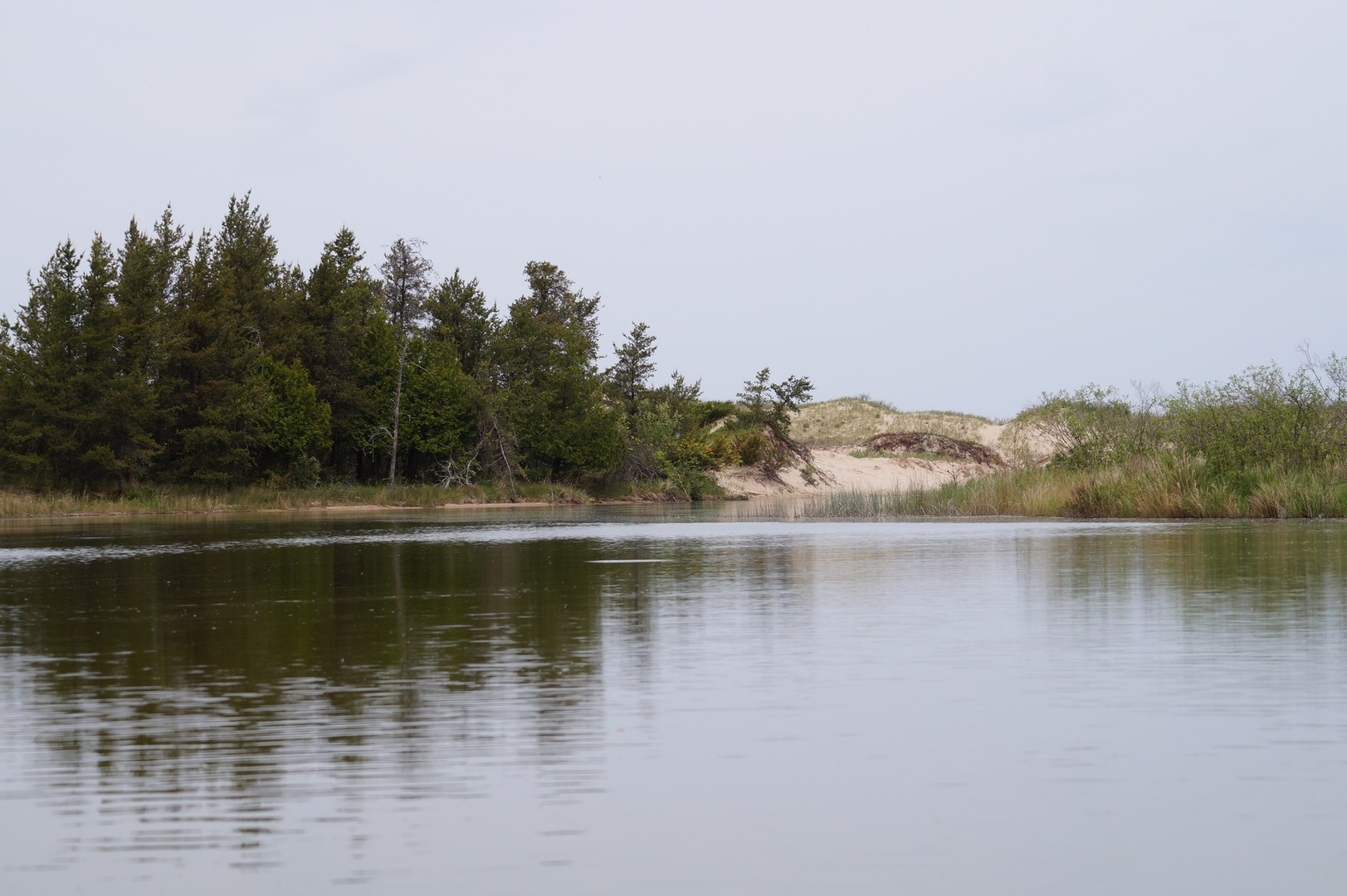... Sand dunes as the river winds to its outlet into Lake Michigan.