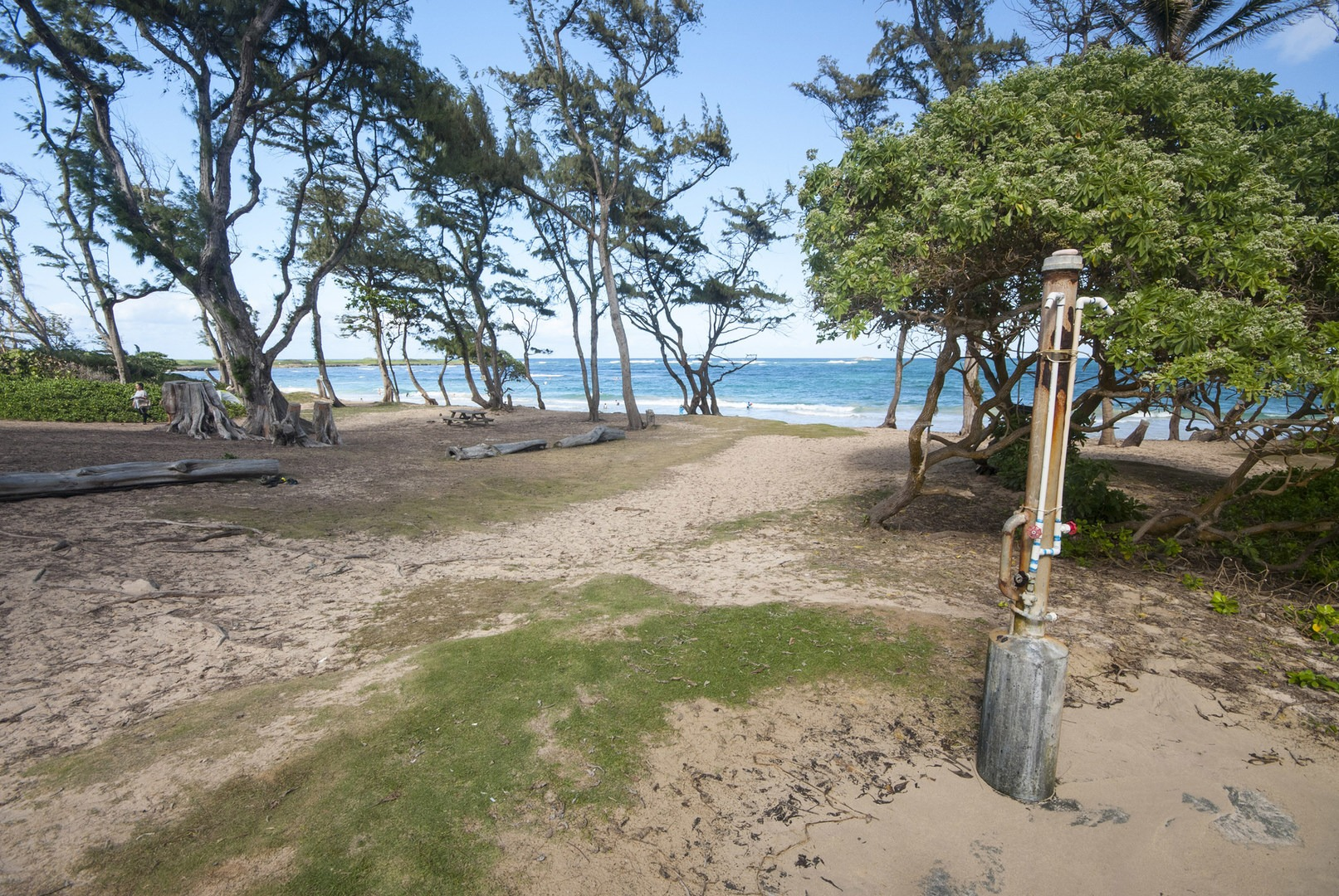 Mālaekahana Beach Campground Tent Camping Area And Outdoor Shower At