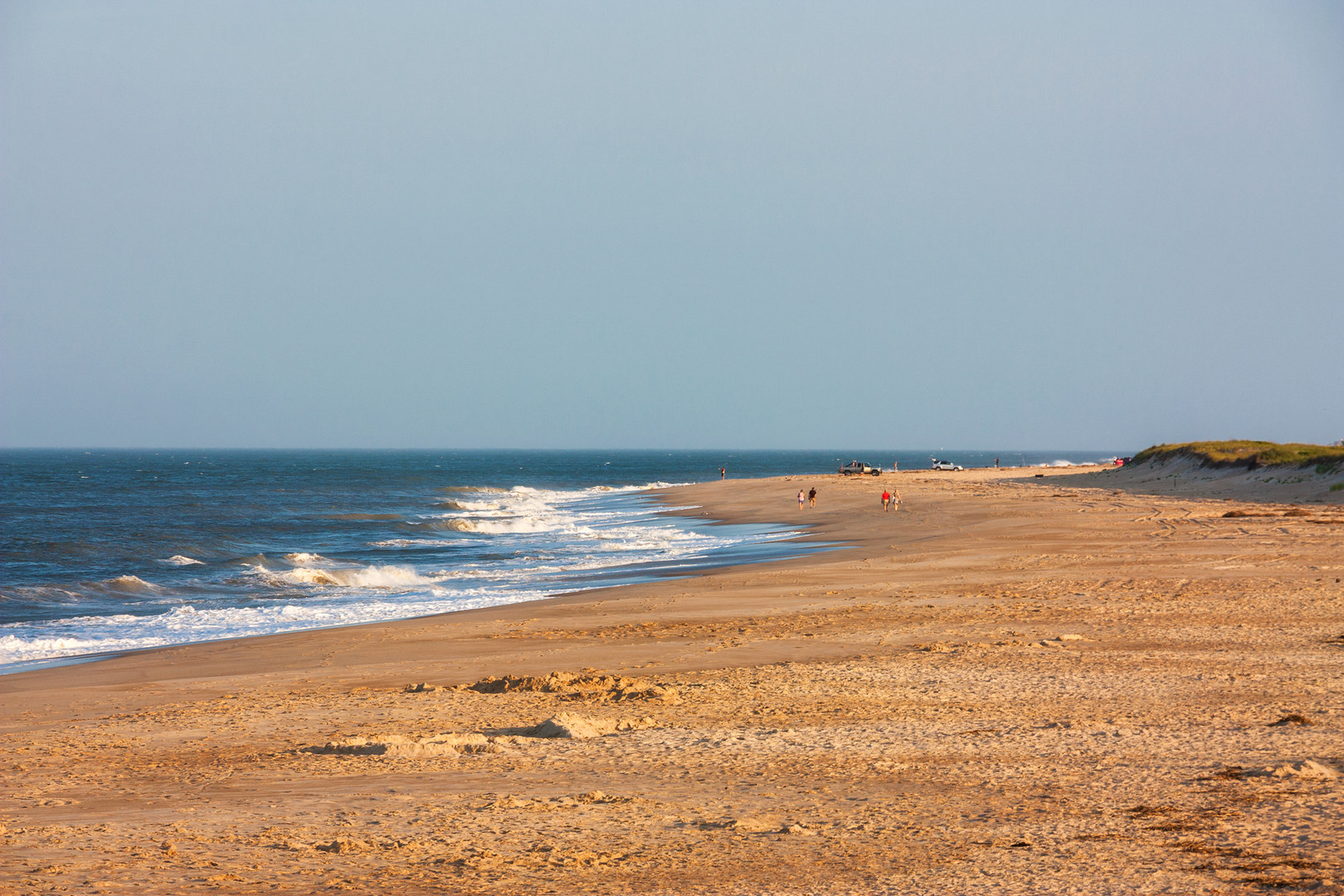 Delaware Seas State Park Wide Open Beach With Surf Fishing From Vehicles At The South Inlet