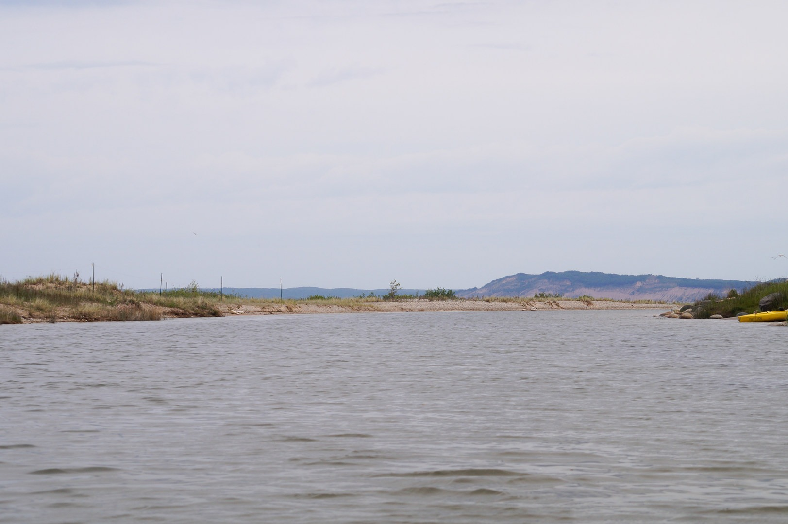 ... Nearing the mouth of the river flowing into Lake Michigan with a glimpse of Empire Bluff