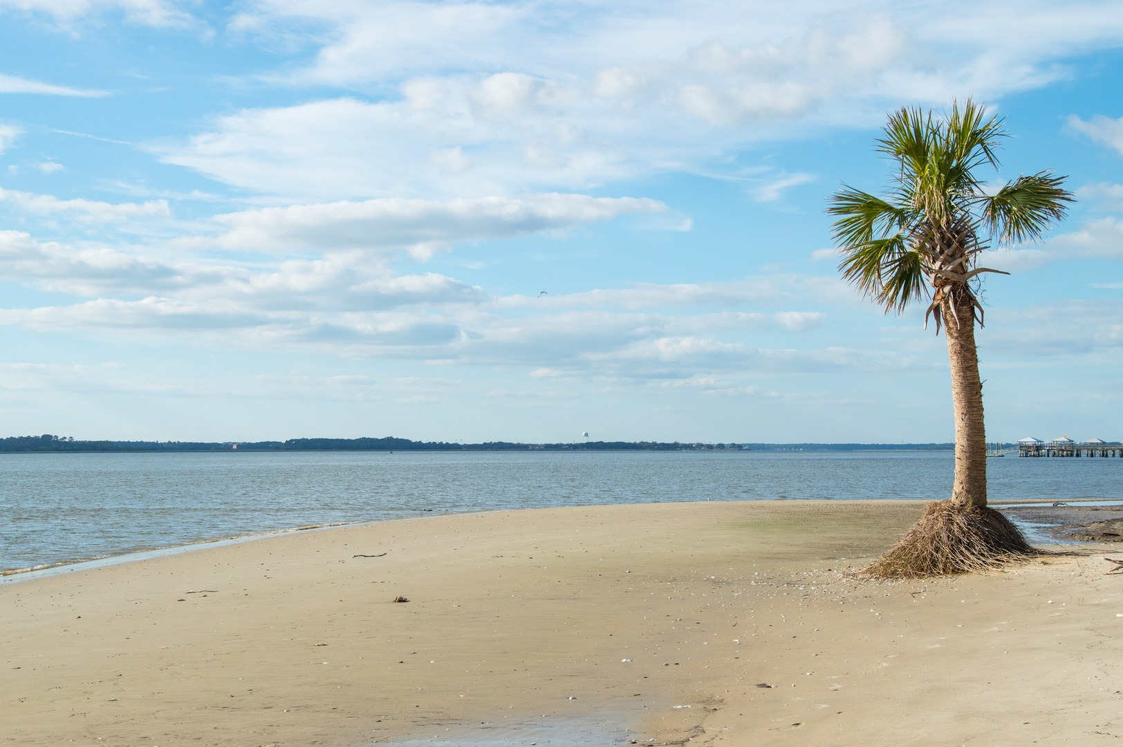 View Across Port Royal Sound To Parris Island Fort Fremont Historical Park Beach