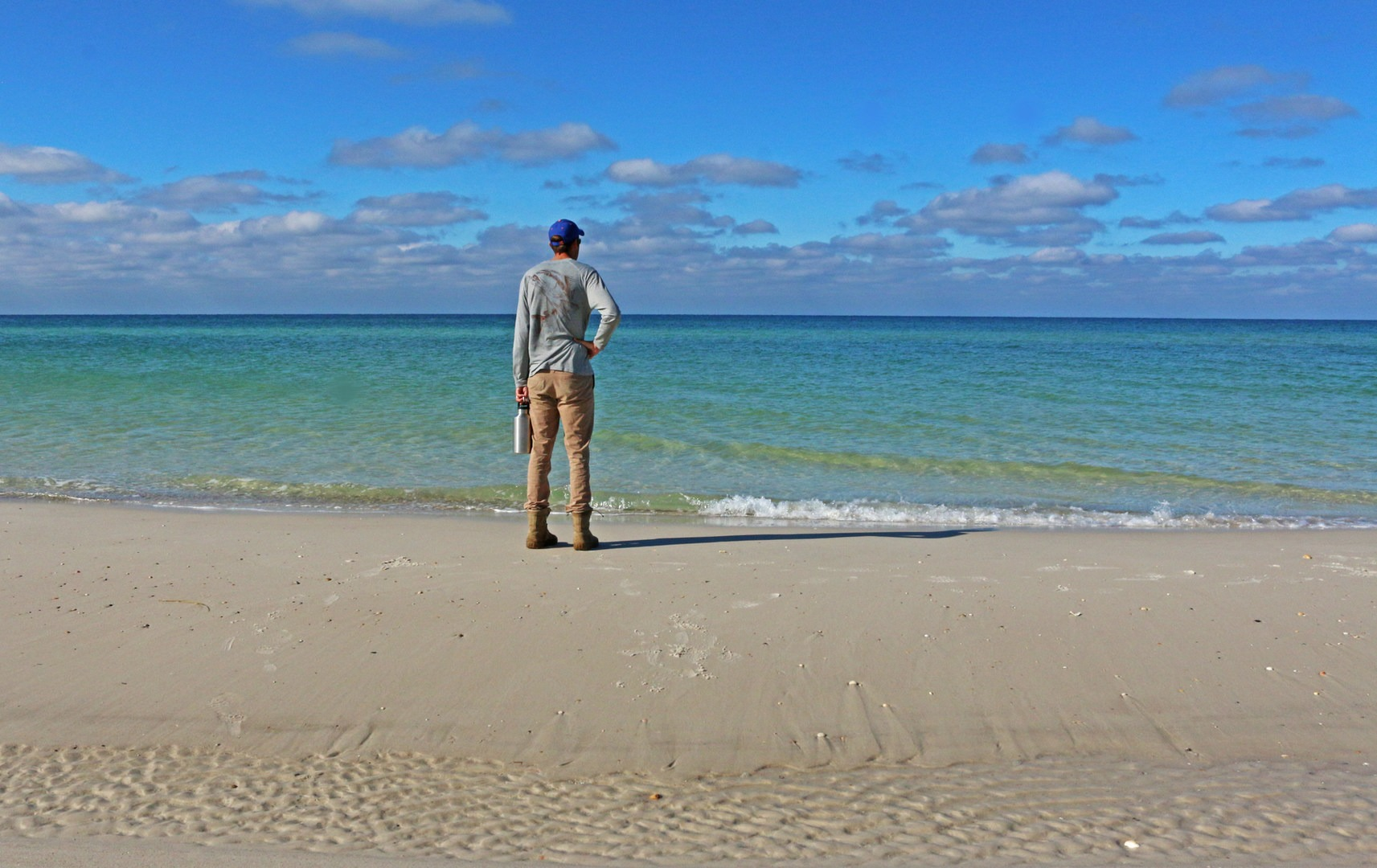 Peninsula State A Visitor Contemplates The Gulf Of Mexico T H Stone Memorial St Joseph White Sand Beaches