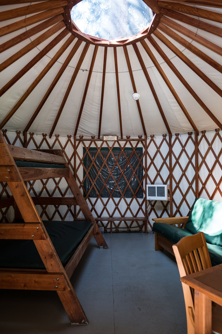 Camping On The Interior Of A Standard Yurt At Harris Beach State Park Campground