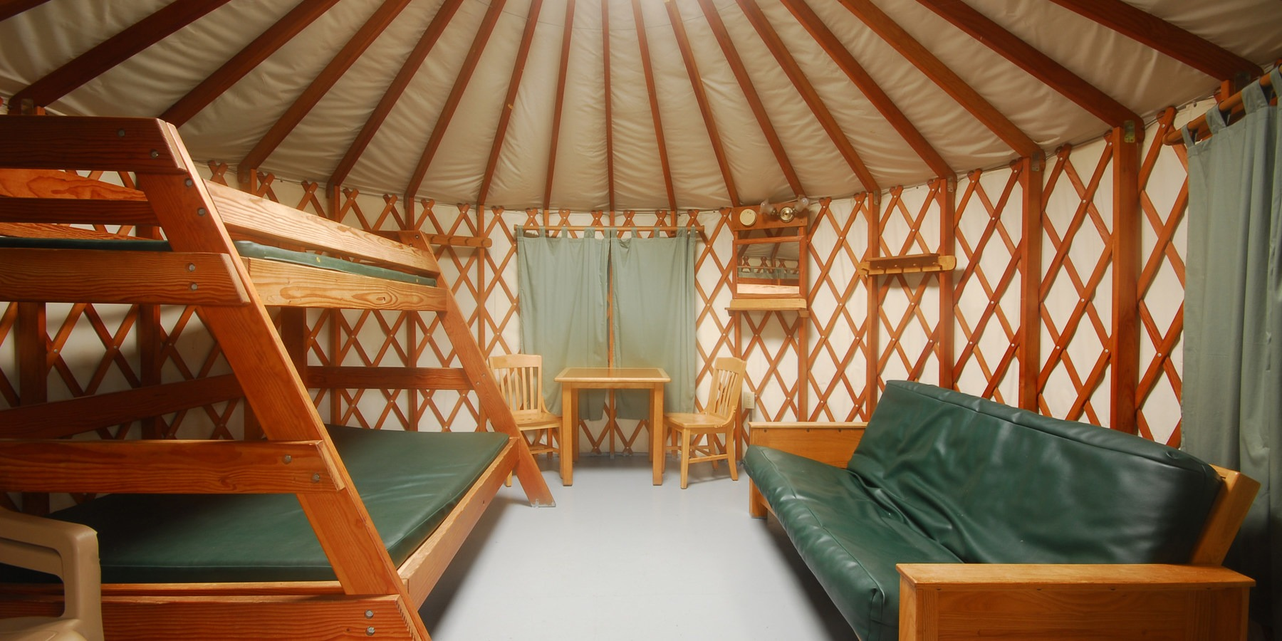 Very Impressive portraiture of Typical yurt interior at South Beach State Park Campground.  14  with #B04C13 color and 1600x800 pixels
