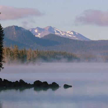 Sunrise on Waldo Lake from North Campground- Waldo Lake, North Waldo Campground