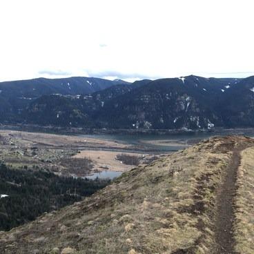 Trail at top of Little Hamilton, Big Hamilton to left.- Little Hamilton Mountain Hike