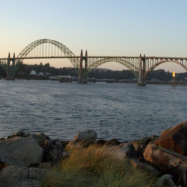 Yaquina Bay Bridge from South Beach Jetty. - South Beach State Park