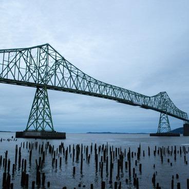 The Astoria–Megler Bridge over the Columbia River.- Astoria Riverwalk Trail